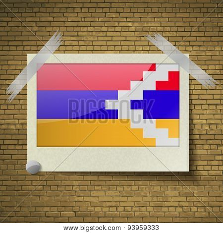 Flags Karabakh Republic At Frame On A Brick Background. Vector