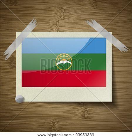 Flags Karachaycherkessia At Frame On Wooden Texture. Vector