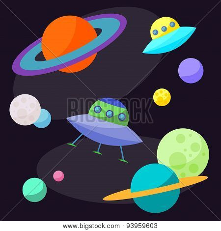 Bright Cartoon Cosmic Illustration With Ufo And Planets In Space