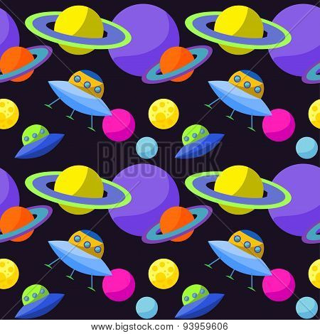 Bright Cosmic Seamless Pattern Background With Cartoon Ufo And Planets