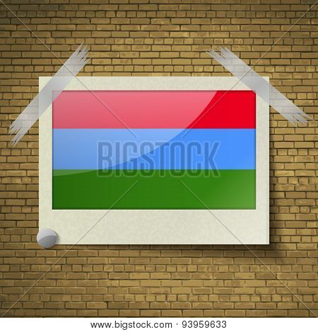 Flags Karelia At Frame On A Brick Background. Vector