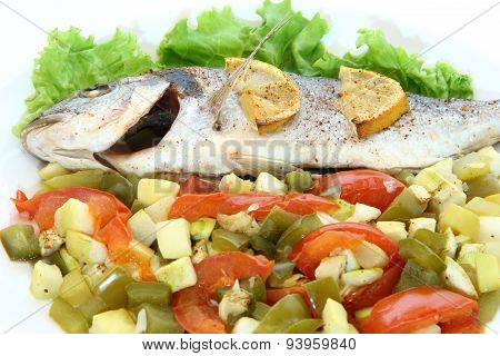 Fried Fish Dorado With Vegetables And Lemon