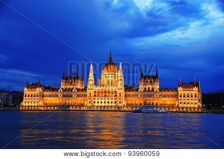 Hungarian Parliament Building In Budapest By Night