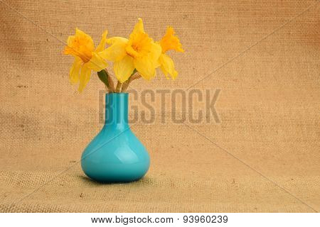 Dried-up Yellow Narcissus Bouquet In A Blue Vase On Background Of Jute Cloth