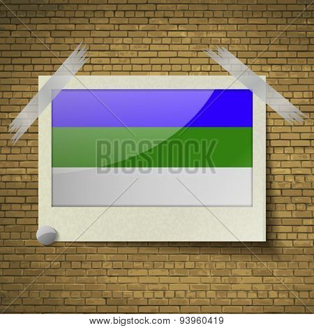 Flags Komi At Frame On A Brick Background. Vector