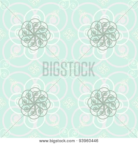 Beautiful Elegant Print Of Roundish Flourishes In Delicate Pastel Colors