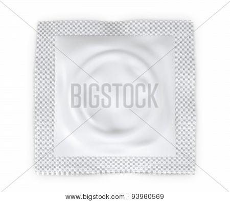 Condom Package Isolated On A White