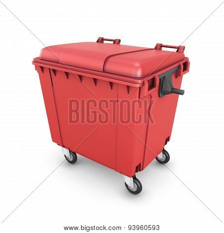 Red Trash Can On Wheels