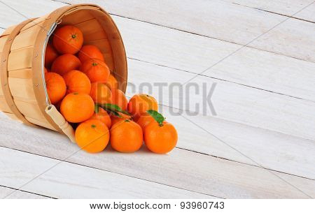A basket of Clementine Mandarin Oranges tipped on its side with fruit spilling onto a rustic wood table.