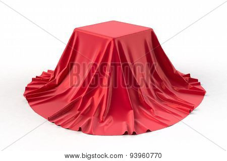 Box covered with red fabric.