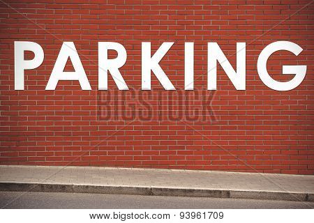 Parking Title On Brick Wall
