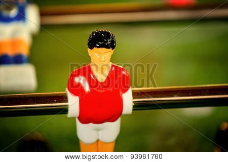 Vintage Foosball, Table Soccer Or Football Kicker Game