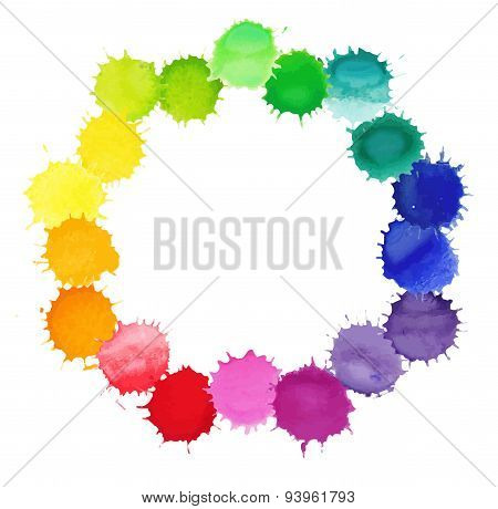 Colorful watercolor splashes isolated on white background.