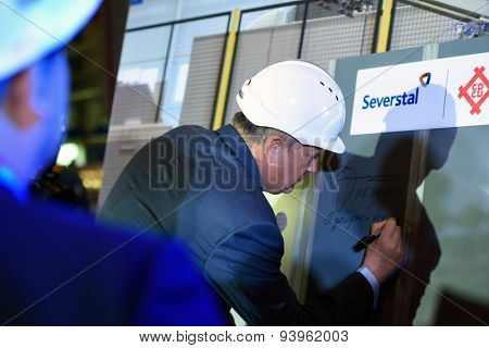 VSEVOLOZHSK, LENINGRAD OBLAST, RUSSIA - JUNE 5, 2015: Leningrad Region acting governor Alexander Drozdenko at the presentation of the joint enterprise Severstal-SSC-Vsevolozsk