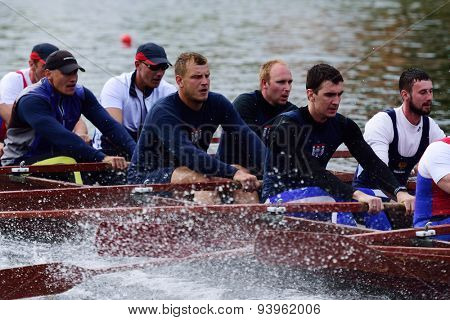ST. PETERSBURG, RUSSIA - JUNE 12, 2015: Competition of Viking boats during the Golden Blades Regatta. This kind of competitions make the race accessible for not only professional athletes but amateurs