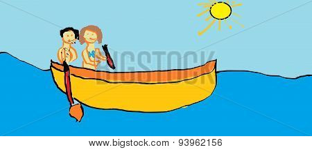 Child's Drawing - Boat