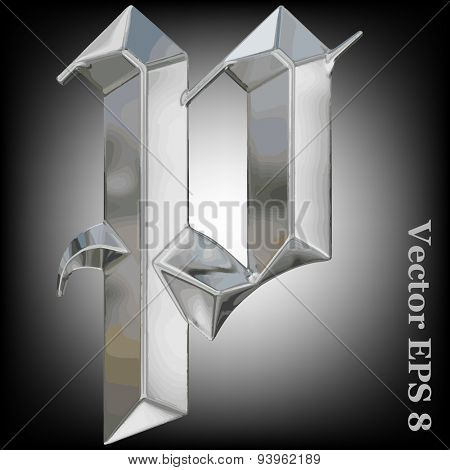 Vector letter p from metal gothic alphabet. Lovercase metal font collection EPS 8
