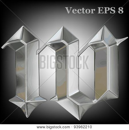 Vector letter w from metal gothic alphabet. Lovercase metal font collection EPS 8