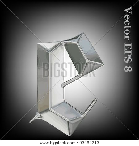 Vector letter e from metal gothic alphabet. Lovercase metal font collection EPS 8