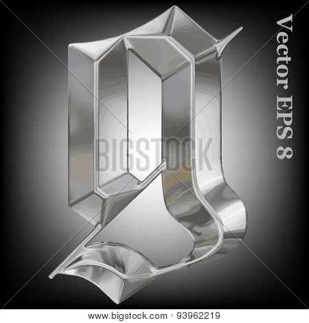 Vector letter g from metal gothic alphabet. Lovercase metal font collection EPS 8