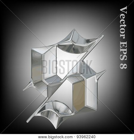 Vector letter s from metal gothic alphabet. Lovercase metal font collection EPS 8