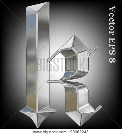 Vector letter k from metal gothic alphabet. Lovercase metal font collection EPS 8