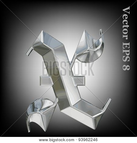 Vector letter x from metal gothic alphabet. Lovercase metal font collection EPS 8