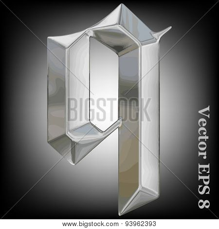 Vector letter q from metal gothic alphabet. Lovercase metal font collection EPS 8