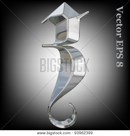 Vector letter a from metal gothic alphabet. Lovercase metal font collection EPS 8