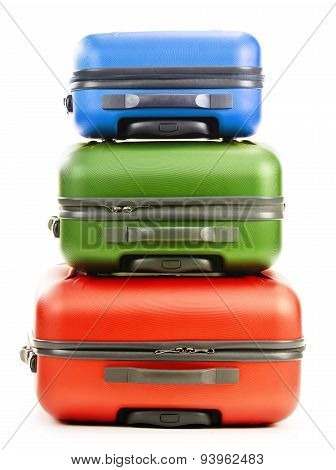Luggage Consisting Of Three Suitcases Isolated On White