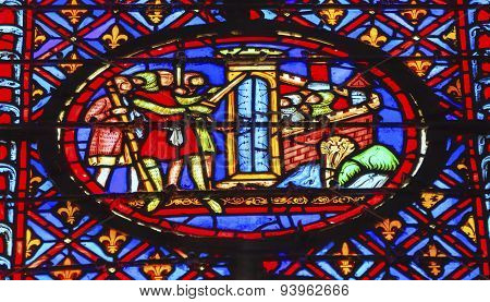 Knights Castle Siege Crusade Stained Glass Sainte Chapelle Paris France