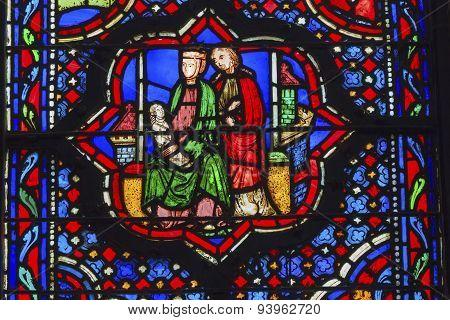Jesus Mary Joseph Stained Glass Sainte Chapelle Paris France