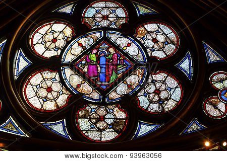 Jesus Mary Stained Glass Lower Chapel Sainte Chapelle Paris France