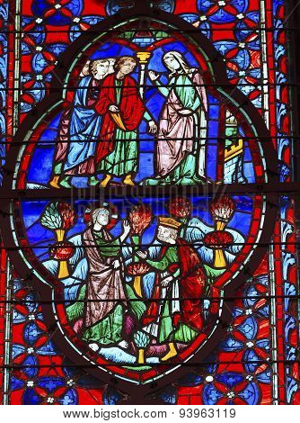 King Christ Mary Stained Glass Sainte Chapelle Paris France