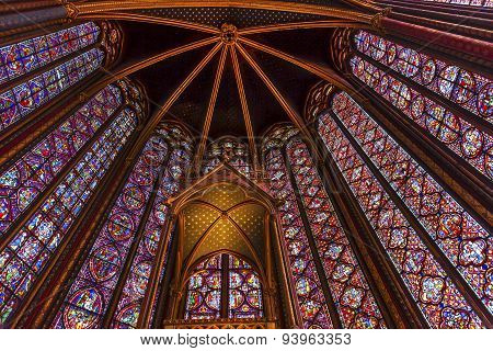 Stained Glass Cathedral Ceiling Sainte Chapelle Paris France