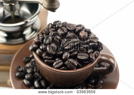 Coffee Bean Overflow In Coffee Cup
