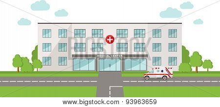 Medical concept. Panoramic background with hospital building and ambulance car in flat style.