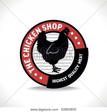 Chicken shop sign with silhouette of hen, vector illustration for design label