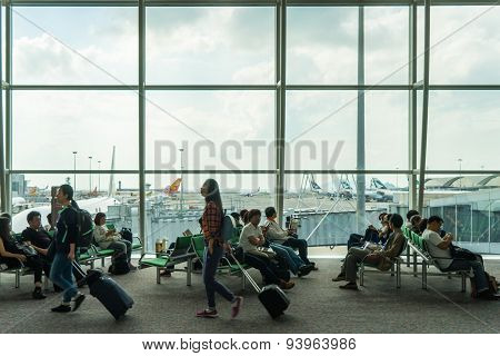 passengers waiting for departure in Hong Kong international airport