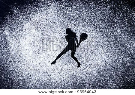 Sport Concept, Shape Of Woman In Action By Powder. Part Of A Tennis Series