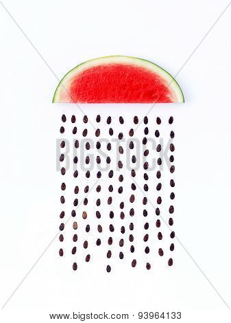Weather Concept, Watermelon Shape Of Rainy Season. Part Of A Weather Forecast Series