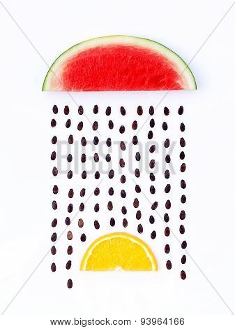 Weather Concept, Watermelon And Orange Shape Of Rainy Season. Part Of A Weather Forecast Series