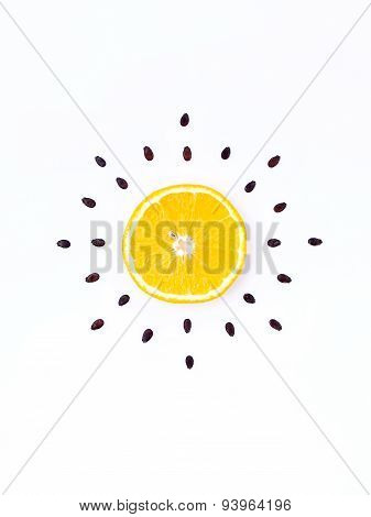 Weather Concept, Orange Shape Of Sunny Day. Part Of A Weather Forecast Series