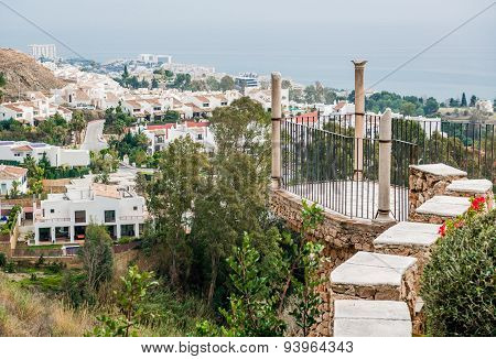 Observation Deck Of The Colomares Castle And View Of Benalmadena Town
