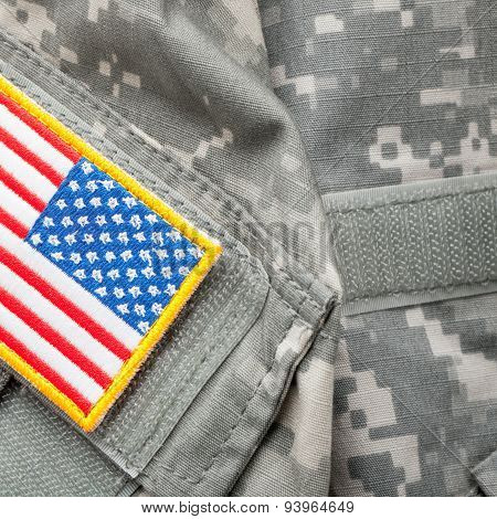 Us Flag Shoulder Patch On Solder's Uniform - Studio Shot