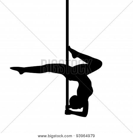 Pole Dancer In Pole Dance . Stand On The Elbows. Isolated On White Background. Vector Illustration