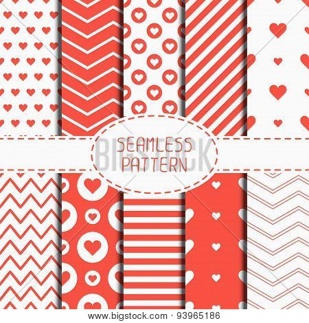 Set of romantic geometric seamless pattern with hearts. Collection of wrapping paper. Scrapbook pape