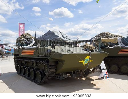 Airborne combat vehicle BMD-4M prepared for landing from an aircraft