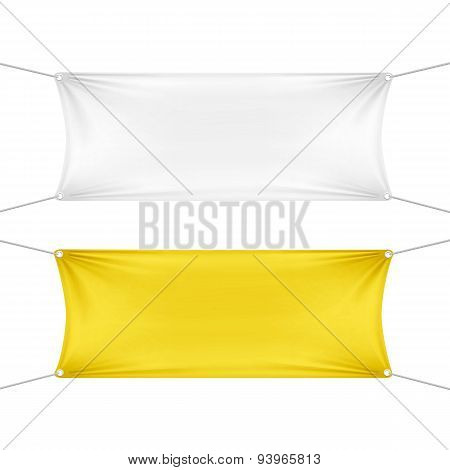 White and Yellow Blank Empty Horizontal Banners