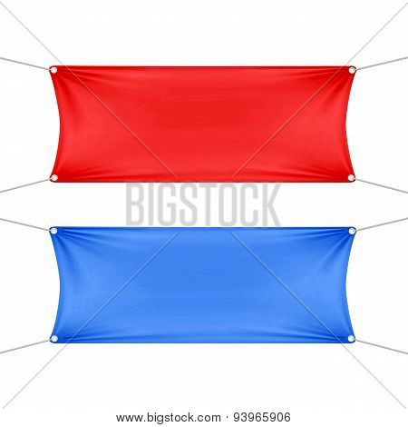 Red and Blue Blank Empty Horizontal Banners